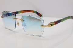 Cartier Rimless 8300816 Original Peacock Wood Sunglasses In Gold Ice Blue Carved Lens
