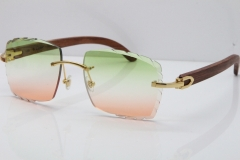 Cartier Rimless 8300816 Original Wood Sunglasses In Gold Green Mix Brown Carved Lens