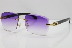Cartier Rimless 8300816 Original Black Buffalo Horn Sunglasses In Gold Purple Carved Lens