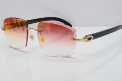 Cartier Rimless 8300816 Original Black Buffalo Horn Sunglasses In Gold Mirror Red Carved Lens