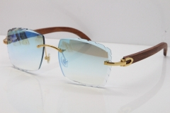 Cartier Rimless 8300816 Original Wood Sunglasses In Gold Ice Blue Carved Lens
