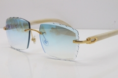 Cartier Rimless 8300816 Original White Genuine Natural Sunglasses In Gold Ice Blue Carved Lens