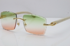 Cartier Rimless 8300816 Original White Genuine Natural Sunglasses In Gold Green Mix Brown Carved Lens