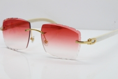 Cartier Rimless 8300816 Original White Genuine Natural Sunglasses In Gold Red Carved Lens