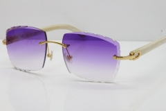 Cartier Rimless 8300816 Original White Genuine Natural Sunglasses In Gold Purple Carved Lens