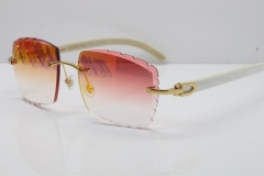 Cartier Rimless 8300816 Original White Genuine Natural Sunglasses In Gold Mirror Red Carved Lens