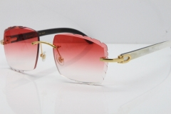 Cartier Rimless 8300816 Original White inside Black Buffalo Horn Sunglasses In Gold Red Carved Lens