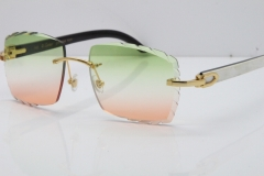 Cartier Rimless 8300816 Original White inside Black Buffalo Horn Sunglasses In Gold Green Mix Brown Carved Lens