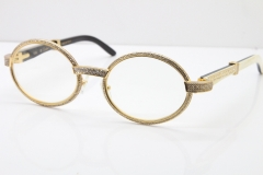 Cartier T7550178 White Inside Black Buffalo Horn Smaller Big Stones Vintage Eyeglasses In Gold(Limited edition)