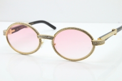 Cartier T7550178 Black Buffalo Horn Smaller Big Stones Vintage Sunglasses In Gold Pink Lens(Limited edition)