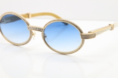 Cartier Smaller Big Stones 7550178 White Genuine Natural Horn Sunglasses Vintage In Gold Blue Lens(Limited edition)