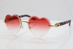 Cartier Rimless 3524012 Heart Marble Purple Aztec sunglasses in Gold Red Lens