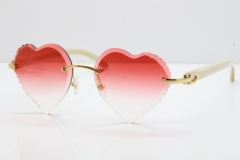Cartier Rimless 3524012 Heart White Buffalo Horn Sunglasses in Gold Red Lens