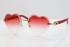 Cartier Rimless 3524012 Heart Red Aztec sunglasses in Gold Red Lens