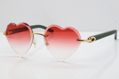 Cartier Rimless 3524012 Heart Green Aztec sunglasses in Gold Red Lens