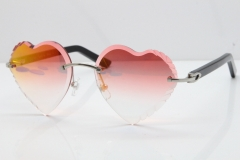 Cartier Rimless 3524012 Heart Black Aztec Sunglasses in Silver Mirror Red Lens