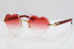 Cartier Rimless 3524012 Heart Marble Red Aztec Sunglasses in Gold Red Lens