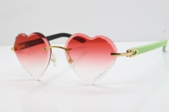 Cartier Rimless 3524012 Heart Green Mix Black Aztec Sunglasses in Gold Red Lens