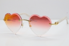 Cartier Rimless 3524012 Heart White Aztec Sunglasses in Gold Mirror Red Lens
