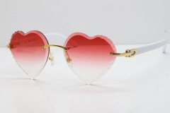 Cartier Rimless 3524012 Heart White Aztec sunglasses in Gold Red Lens