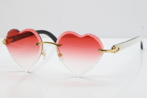 Cartier Rimless 3524012 Heart White Inside Black Buffalo Horn Sunglasses in Gold Red Lens