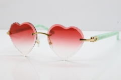 Cartier Rimless 3524012 Heart Marble Blue Aztec Sunglasses in Gold Red Lens