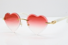 Cartier Rimless 3524012 Heart Marble White Aztec Sunglasses in Gold Red Lens