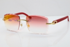 Cartier Rimless 8300816 Red Aztec Sunglasses In Gold Red Mirror Lens