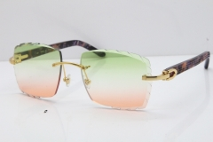 Cartier Rimless 8300816 Marble Purple Aztec Sunglasses In Gold Mix Green Pink Lens