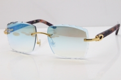 Cartier Rimless 8300816 Marble Purple Aztec Sunglasses In Gold Blue Mirror Lens