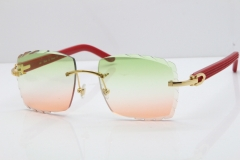Cartier Rimless 8300816 Red Aztec Sunglasses In Gold Mix Green Pink Lens