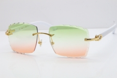 Cartier Rimless 8300816 White Aztec Sunglasses In Gold Mix Green Pink Lens