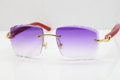 Cartier Rimless 8300816 Red Aztec Sunglasses In Gold Purple Lens