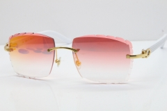 Cartier Rimless 8300816 White Aztec Sunglasses In Gold Red Mirror Lens