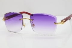 Cartier Rimless 8300816  Marble Red Aztec Sunglasses In Gold Purple Lens