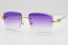 Cartier Rimless 8300816 White Aztec Sunglasses In Gold Purple Lens