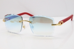 Cartier Rimless 8300816 Red Aztec Sunglasses In Gold Blue Mirror Lens