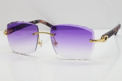 Cartier Rimless 8300816 Marble Purple Aztec Sunglasses In Gold Purple Lens