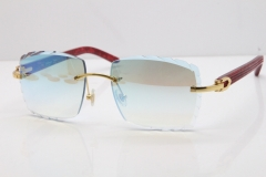 Cartier Rimless 8300816  Marble Red Aztec Sunglasses In Gold Blue Mirror Lens
