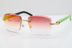 Cartier Rimless 8300816 Original Black Inside Green Aztec Sunglasses In Gold Red Mirror Lens