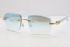 Cartier Rimless 8300816 White Aztec Sunglasses In Gold Blue Mirror Lens