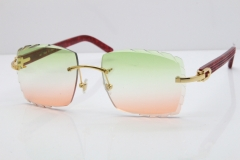 Cartier Rimless 8300816 Original Red Marble Aztec Sunglasses In Gold Mix Green Pink Lens
