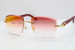 Cartier Rimless 8300816  Marble Red Aztec Sunglasses In Gold Red Mirror Lens