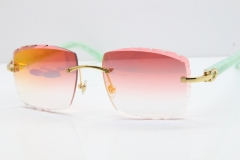 Cartier Rimless 8300816 Marble Green Aztec Sunglasses In Gold Red Mirror Lens