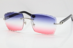 Cartier Rimless 8300816 Black Aztec Sunglasses In Silver Blue Mix White Pink Lens