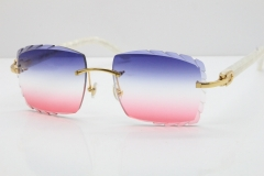 Cartier Rimless 8300816 Marble White Aztec Sunglasses In Gold Blue Mix White Pink Lens