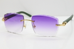 Cartier Rimless 8300816 Green Aztec Sunglasses In Gold Purple Lens