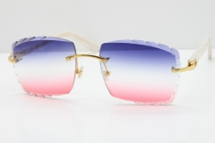 Cartier Rimless 8300816 Marble White Aztec Sunglasses In Gold Blue Mix White Pink Mirror Lens