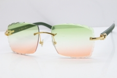 Cartier Rimless 8300816 Black Aztec Sunglasses In Gold Mix Green Pink Lens