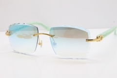 Cartier Rimless 8300816 Marble Green Aztec Sunglasses In Gold Blue Mirror Lens